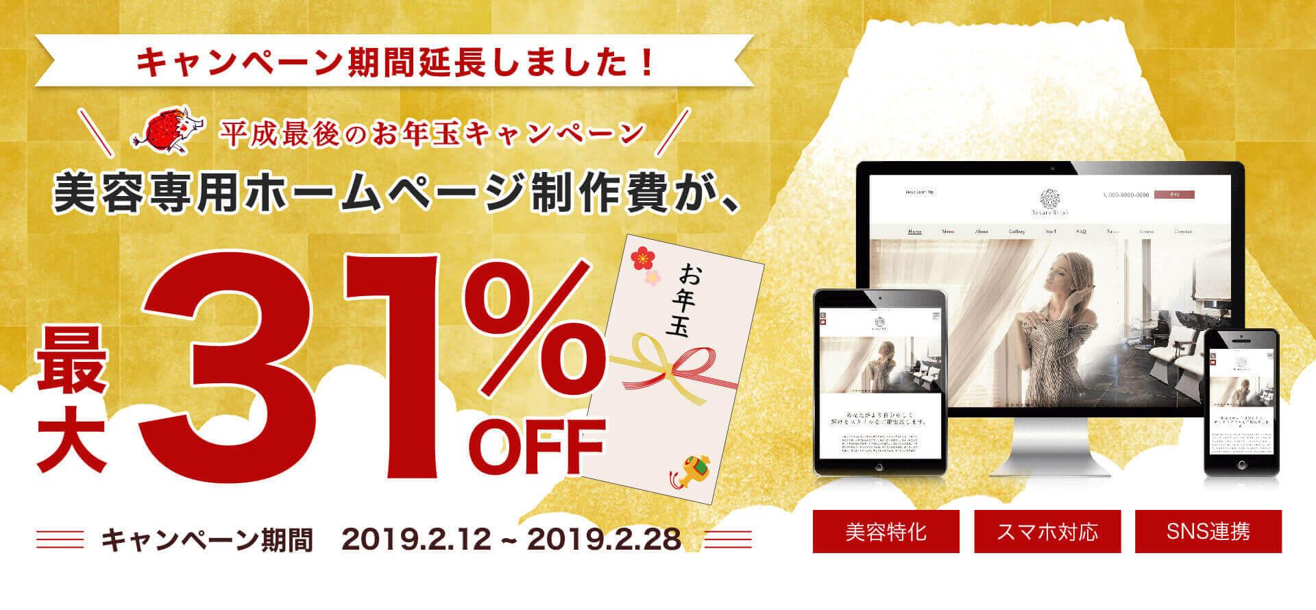 平成最後のお年玉キャンペーン! 美容専用ホームページが最大31%OFF