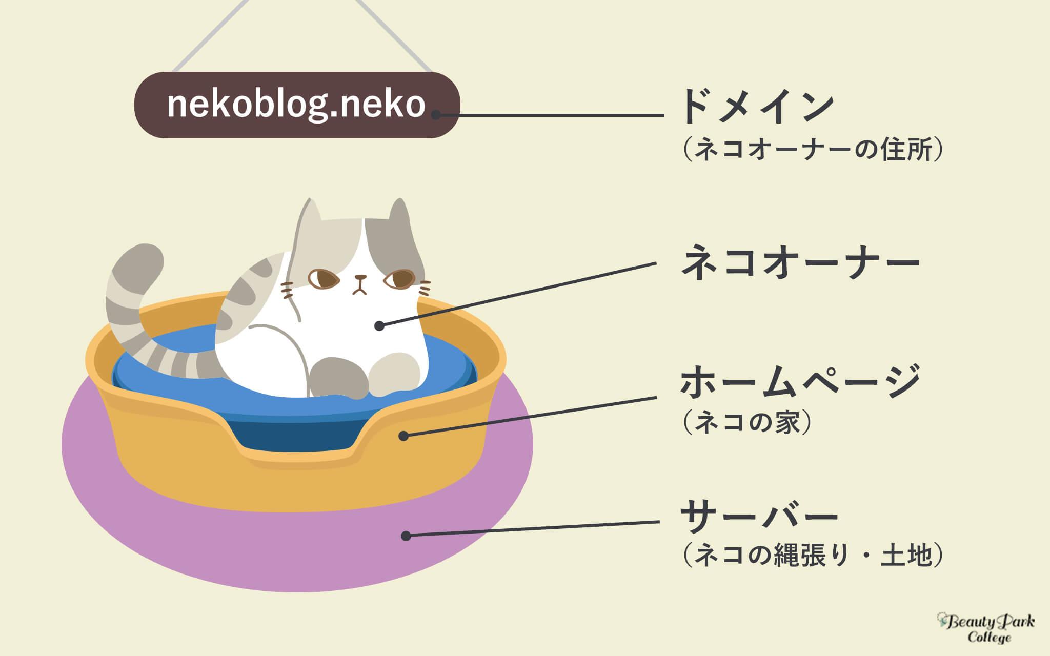 ドメイン=ネコオーナーの住所、ネコオーナー、ホームページ=ネコの家、サーバー=ネコの縄張り・土地